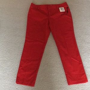 Calvin Klein red slim high rise leg pants 8P New